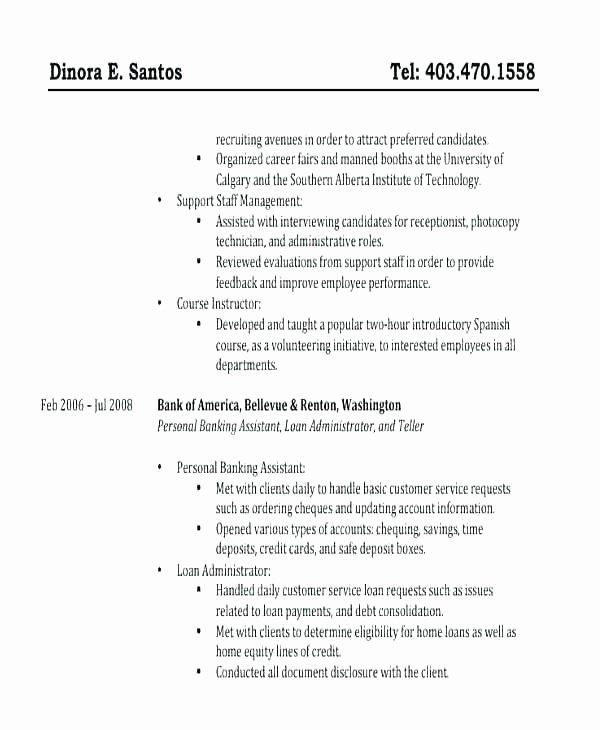Personal Banker Sample Resume – Trezvost