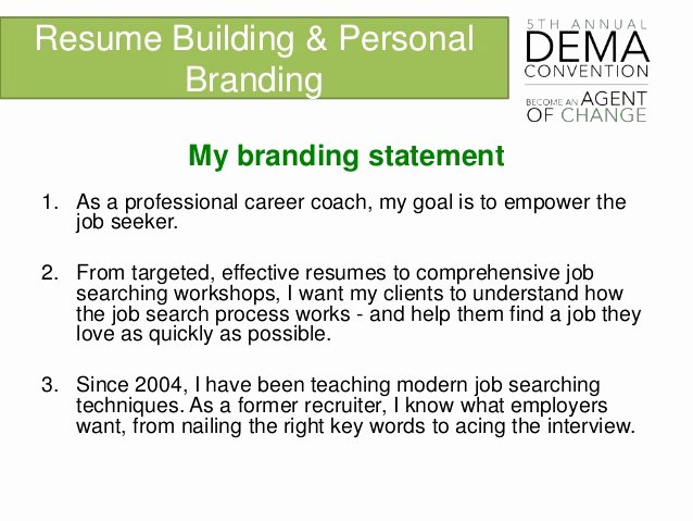 Personal Branding Statement On A Resume