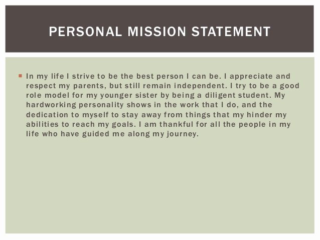 Personal Career Mission Statement Examples