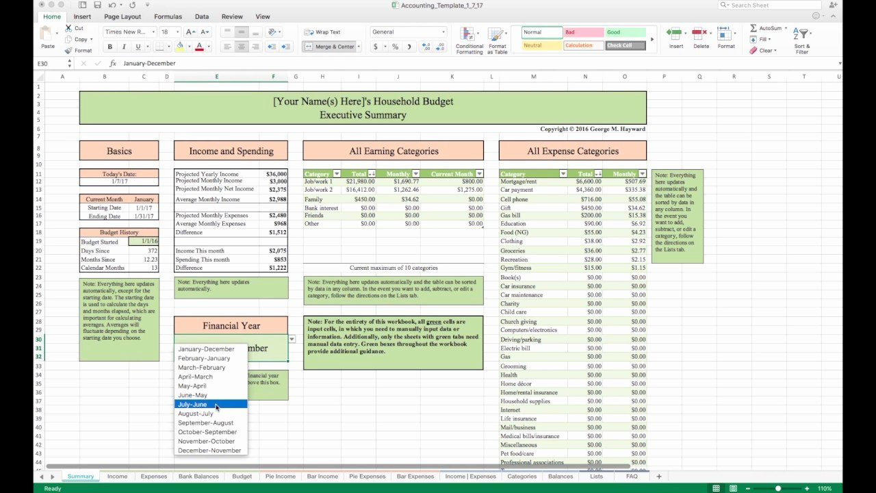 Personal Finance Excel Template