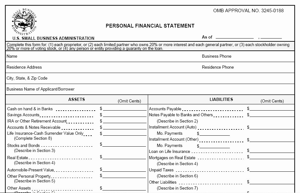 Personal Financial Statement Template Free 2016