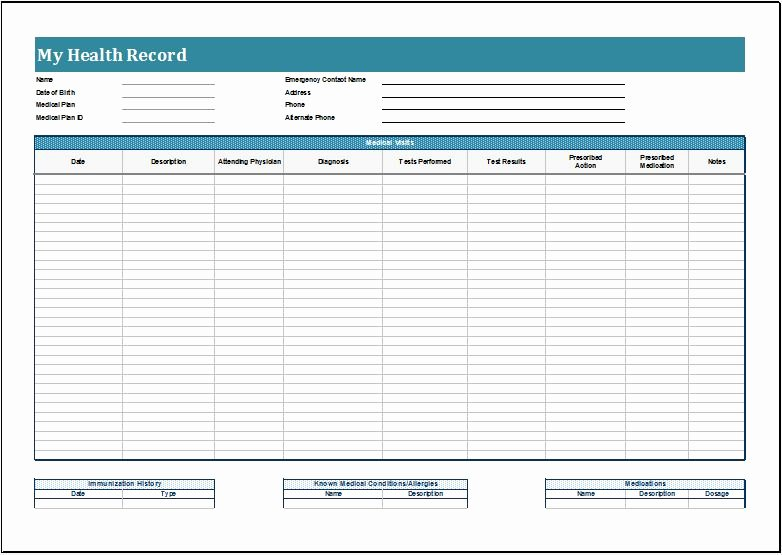 Personal Health Record Sheets