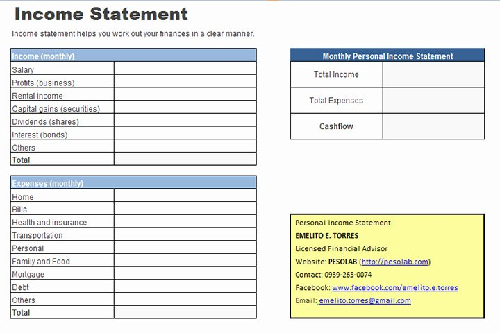 Personal In E Statement Worksheet Pesolab
