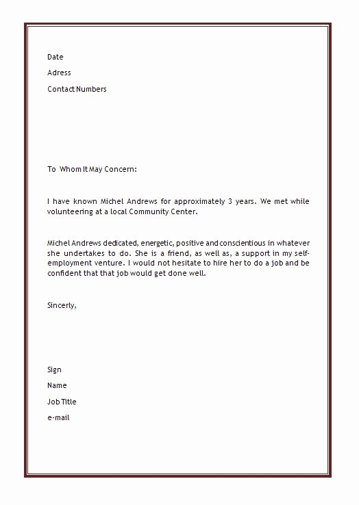 Personal Letter Of Re Mendation Template
