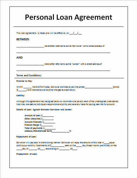 Personal Loan Agreement Template and Sample