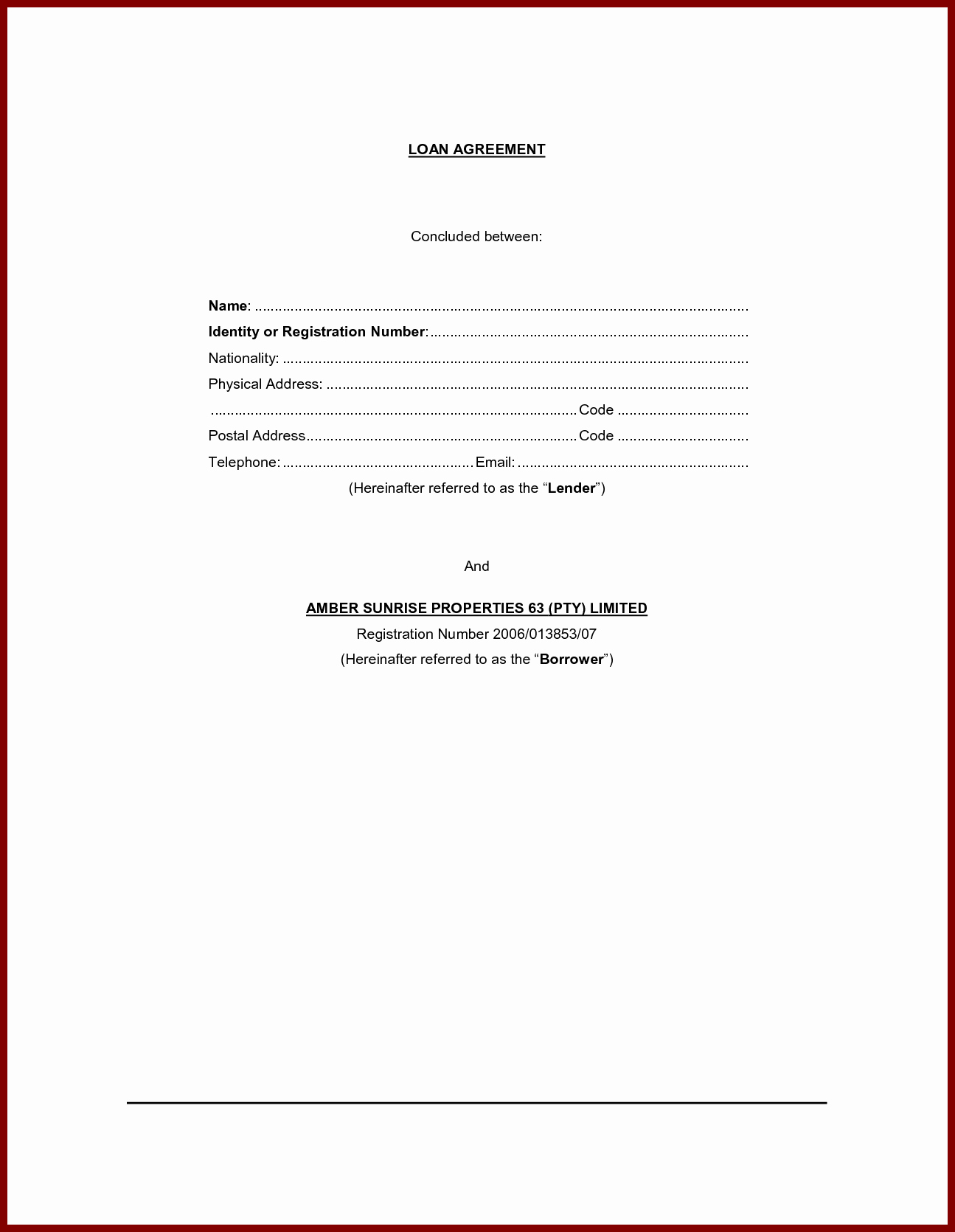 Personal Loan Contract Agreement form Sample Vatansun