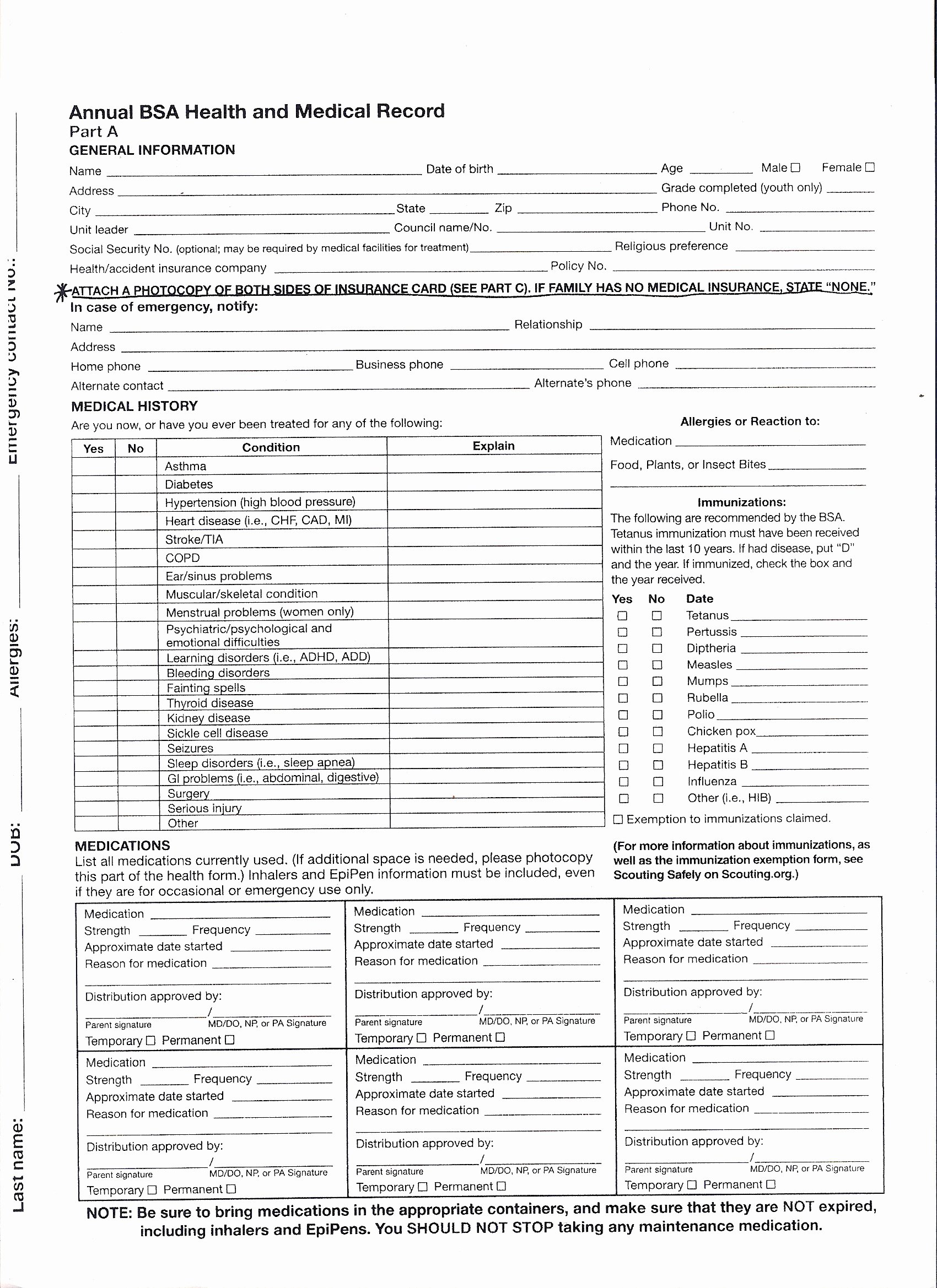 Personal Medical Record forms Printable