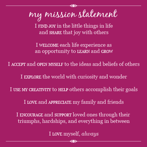 Personal Mission Statement Finance