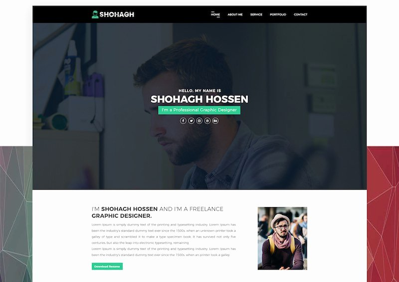 Personal Portfolio Psd Template Free Download Desain 360