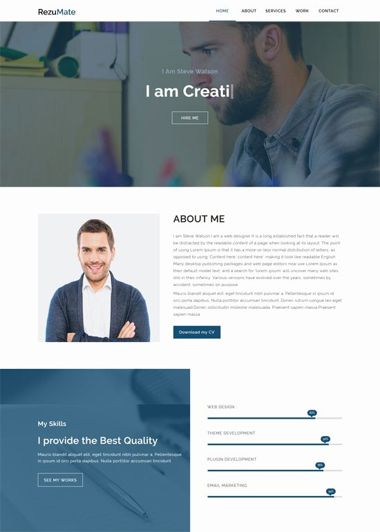 Personal Portfolio Template Free Download Beautiful