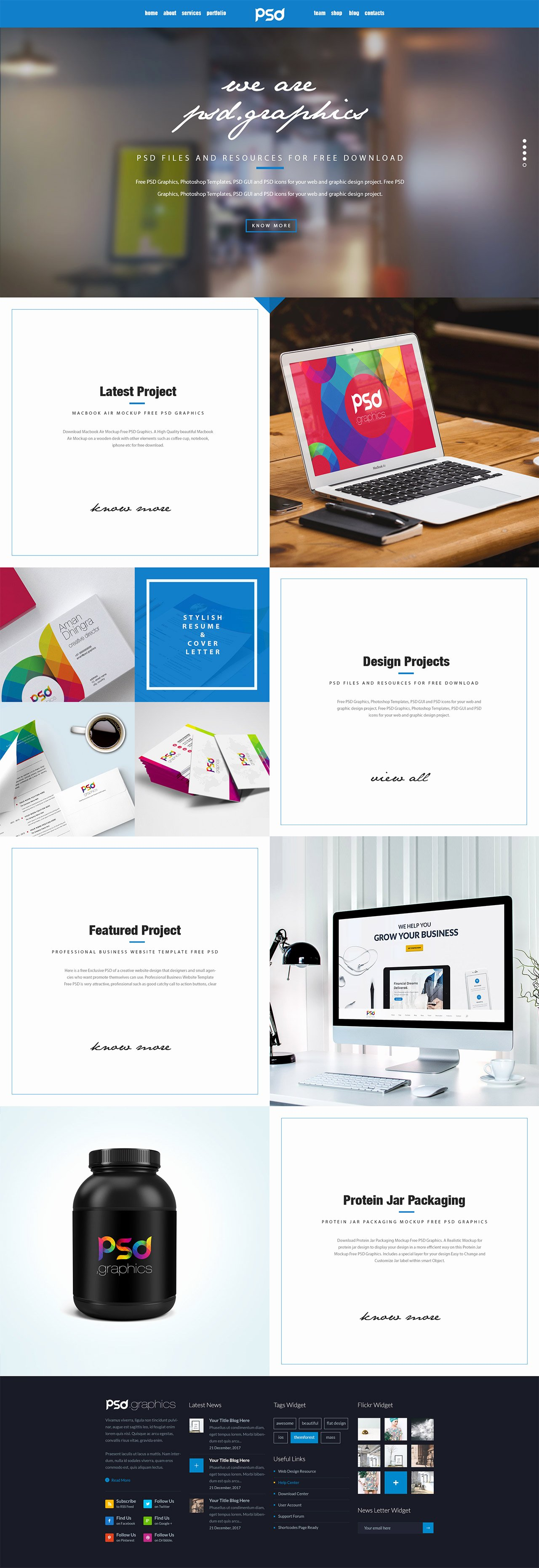 Personal Portfolio Website Template Free Psd Graphics