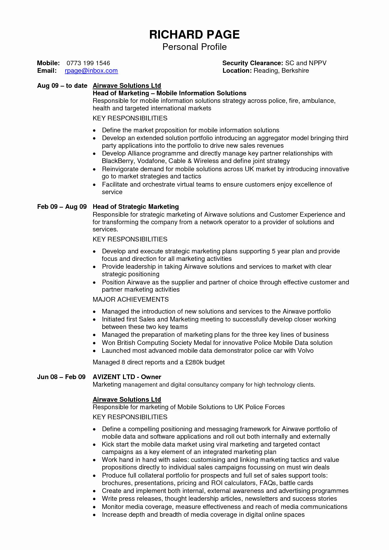 Personal Profile Resume Sample Resume Ideas