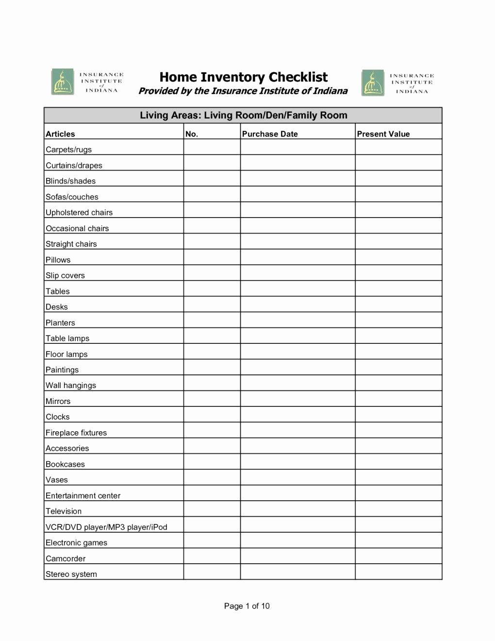 Personal Property Inventory Worksheet