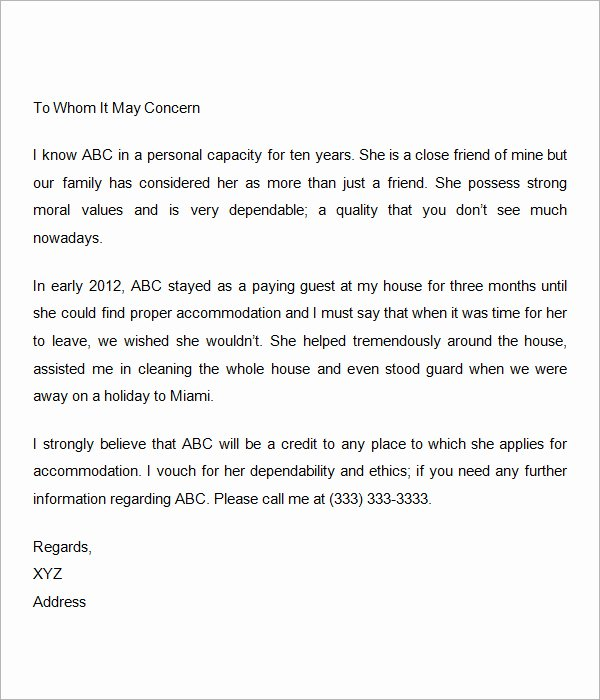 Personal Reference Letter Template Best Word Templates