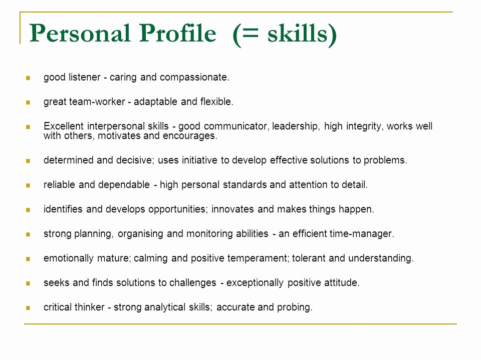 Personal Skills Examples for Resume – Job Resume Example