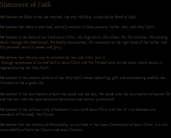 Personal Statement Of Faith Ac Paniment