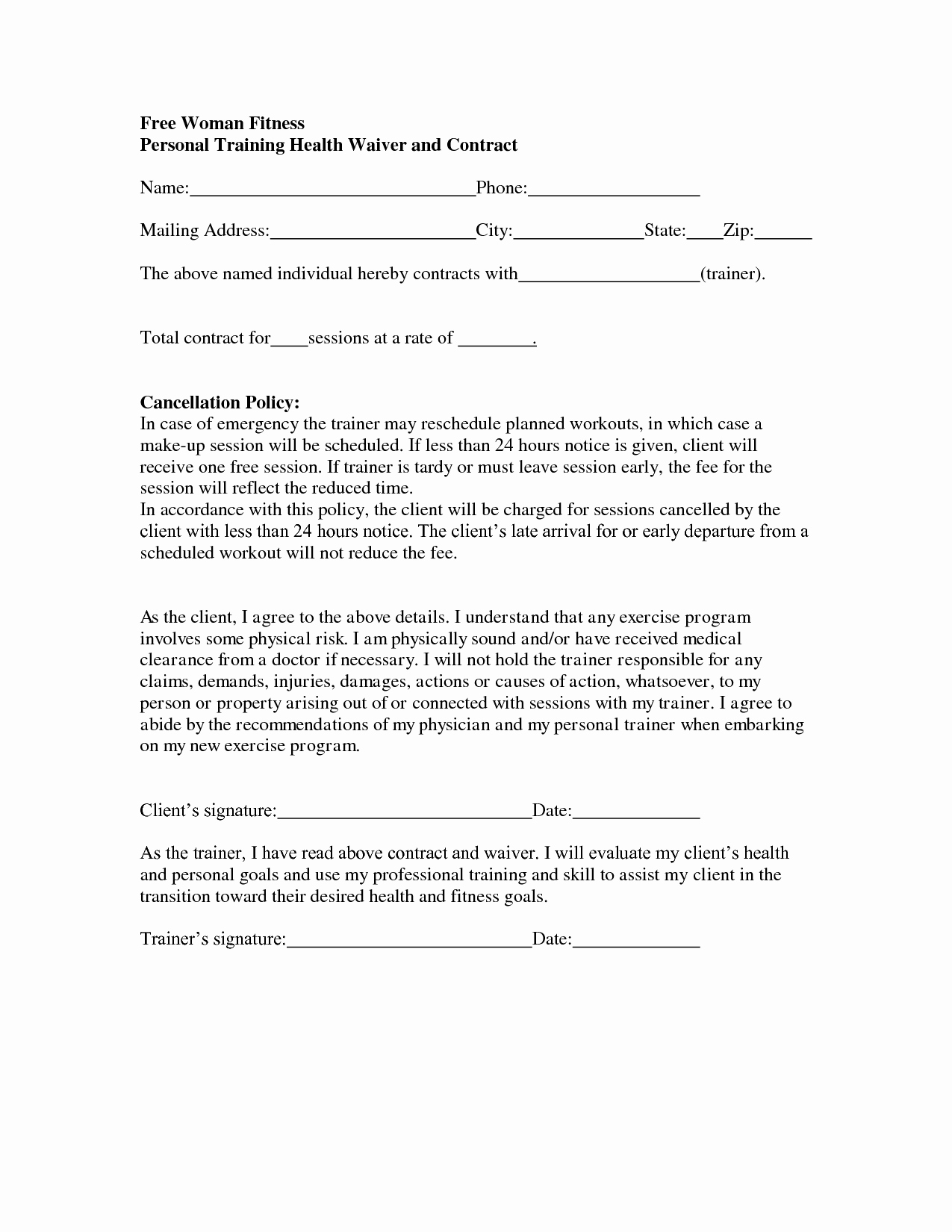 Personal Trainer Contract Free Printable Documents