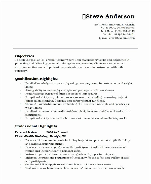 Personal Trainer Resume
