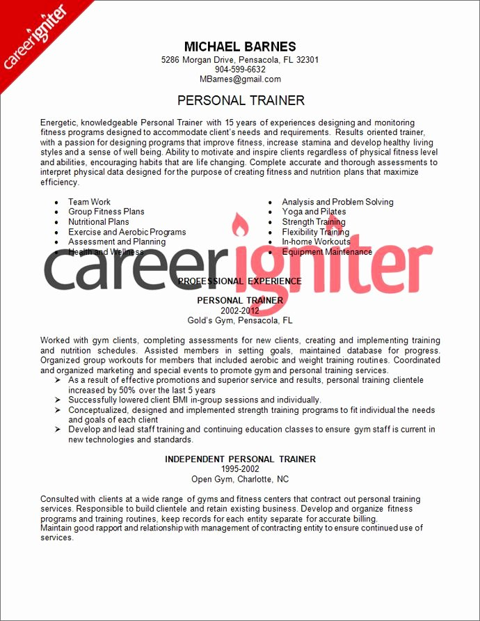 Personal Trainer Resume Sample Resume