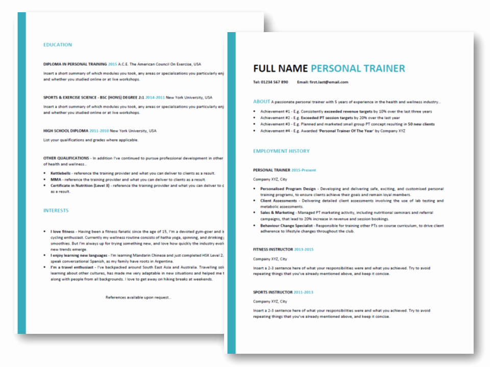 Personal Trainer Resume Tips [ Free Professional Cv Template]