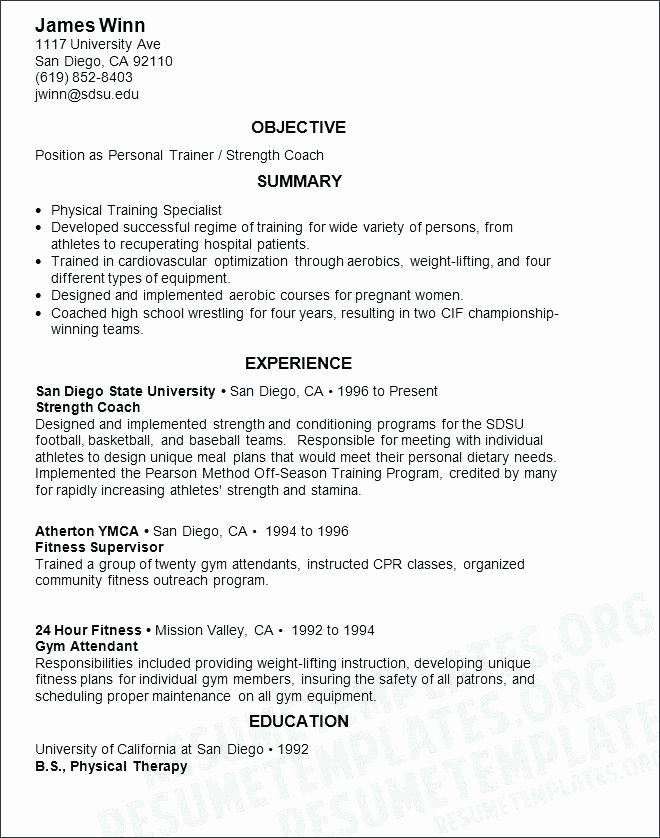 Personal Trainer Sample Resume