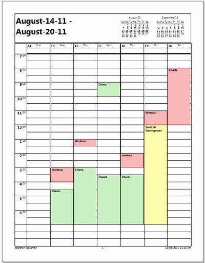 Personal Training Calendar