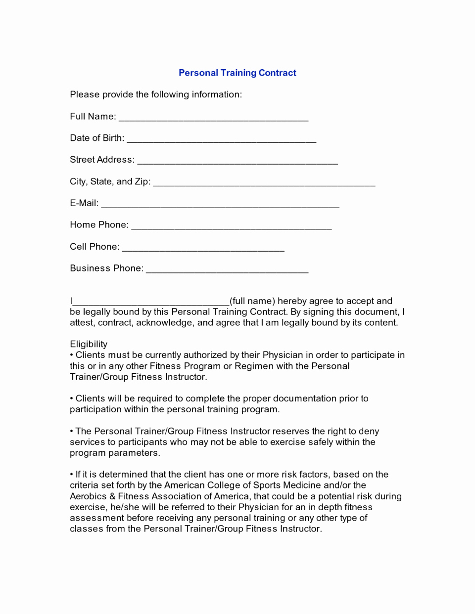 Personal Training Client Agreement Template Contract Free