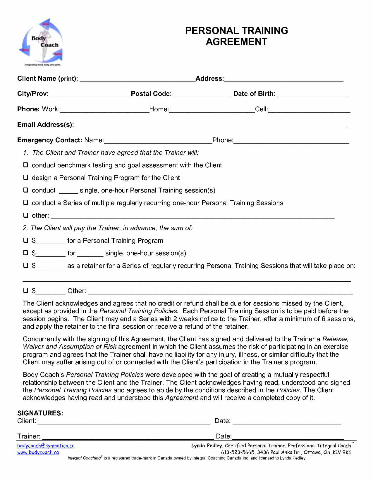 Personal Training Contract Template Free Printable Documents