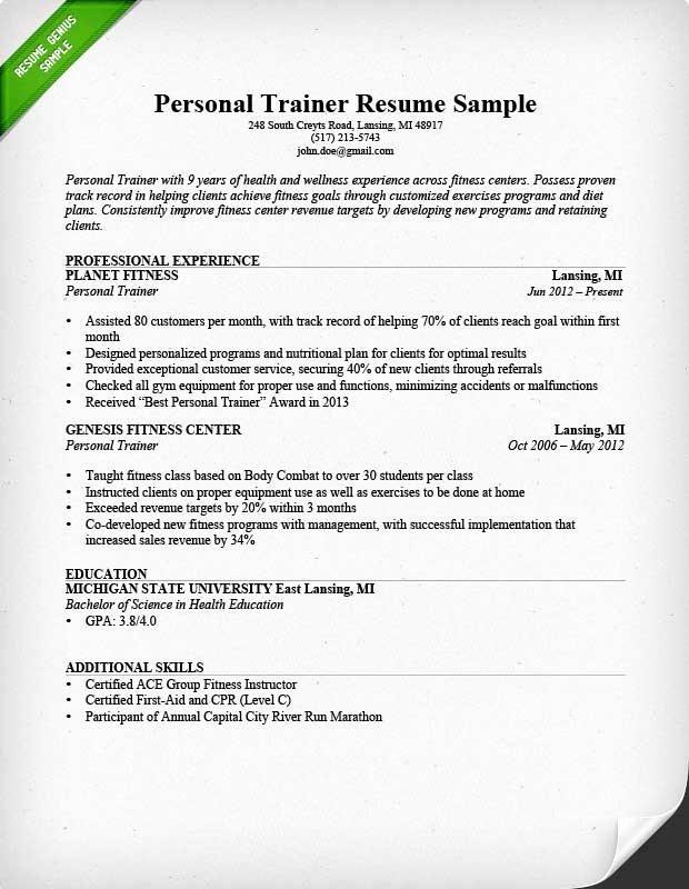 Personal Training Resume Sample Best Resume Gallery