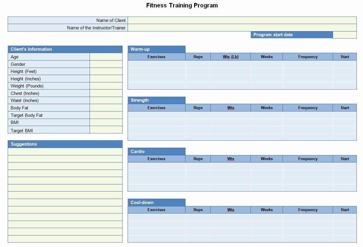 Personal Training Workout Template Eoua Blog