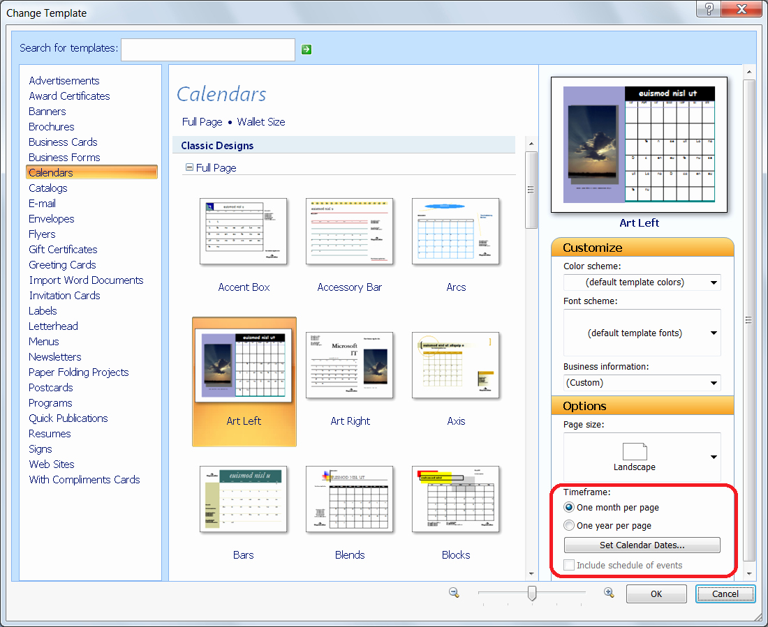 Personalize A Calendar for New Year In Publisher Fice