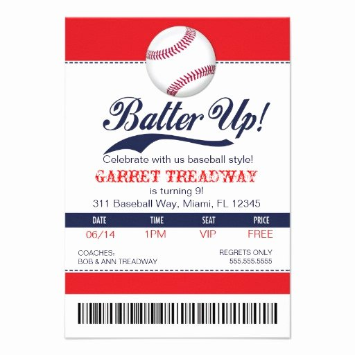 Personalized Baseball Invitations