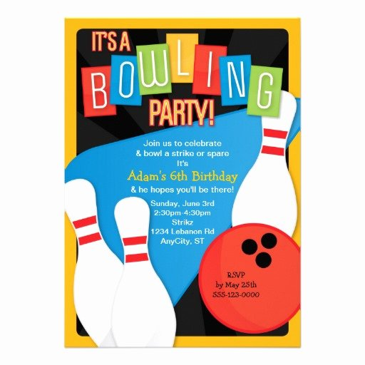 Personalized Birthday Bowling Party Invitations