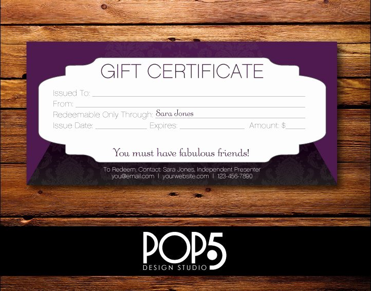 Personalized Digital File Gift Certificate 8 27 X