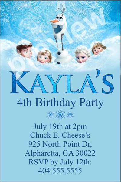 Personalized Party Invites News Frozen Personalized