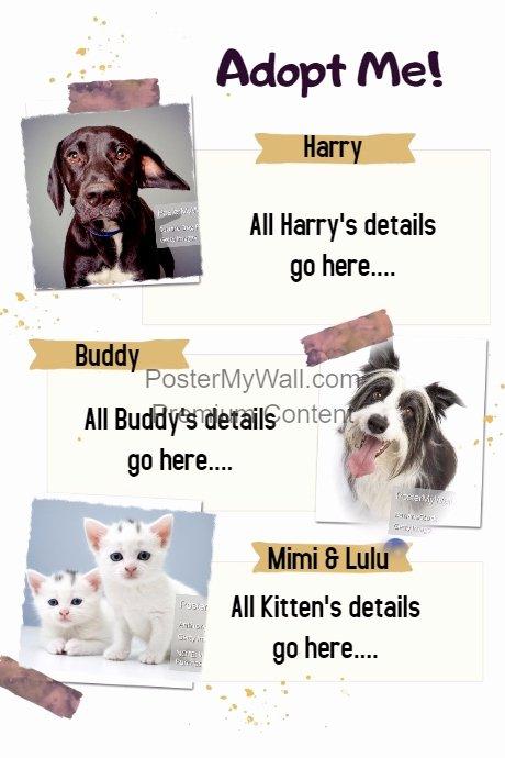Pet Adoption Sitter Walker Sale event Flyer Poster