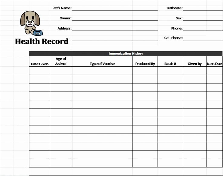 Pet Health Record Template Pet Care Pinterest