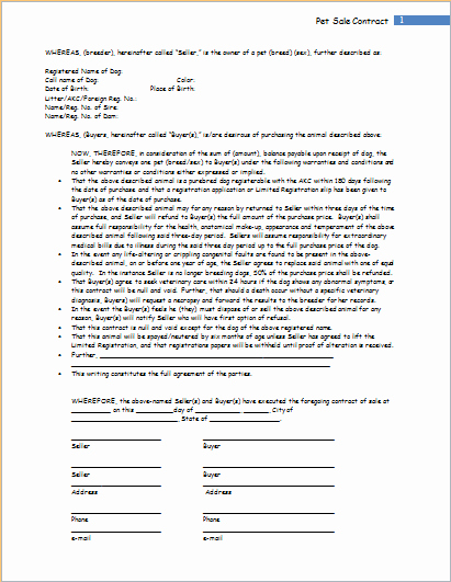 Pet Sale Contract Template for Word