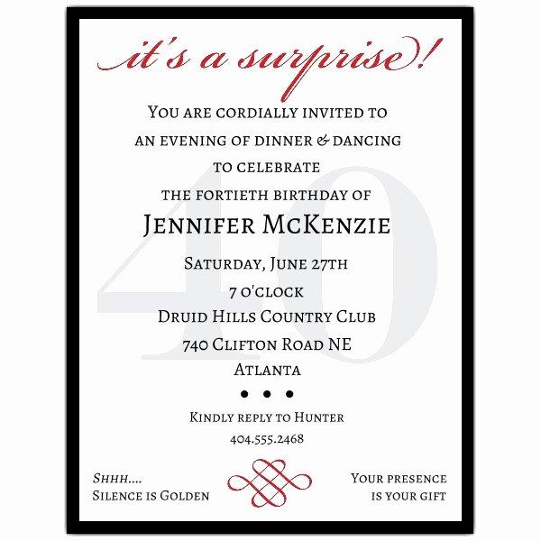 Petite Classic 40th Birthday Surprise Party Invitations
