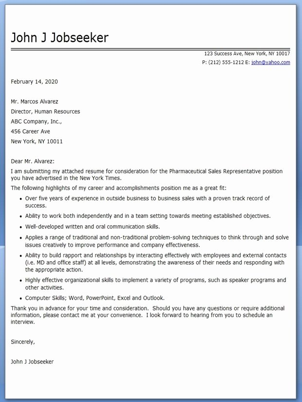 Pharmaceutical Sales Cover Letter Example