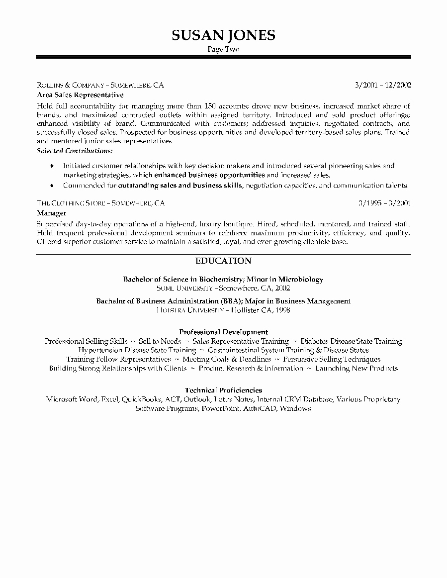 Pharmaceutical Sales Resume No Experience