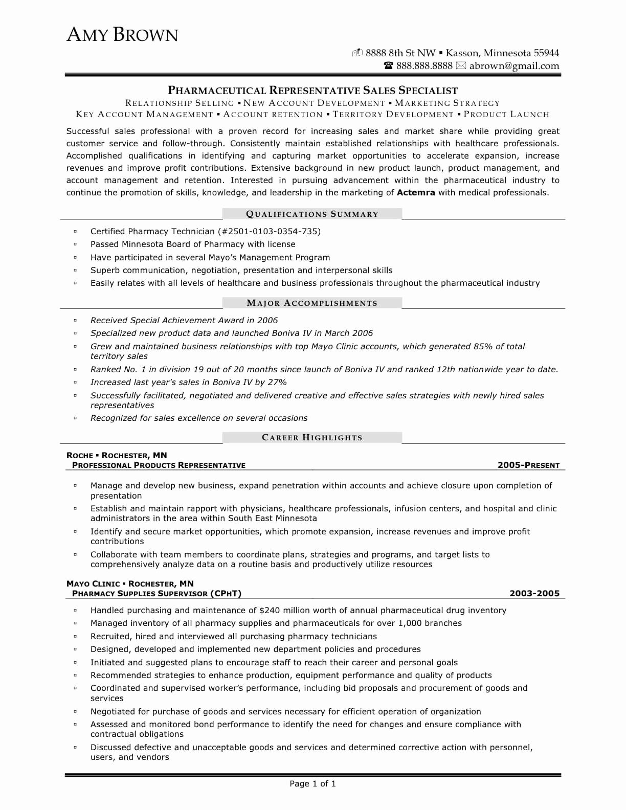Pharmaceutical Sales Resume Resume Ideas