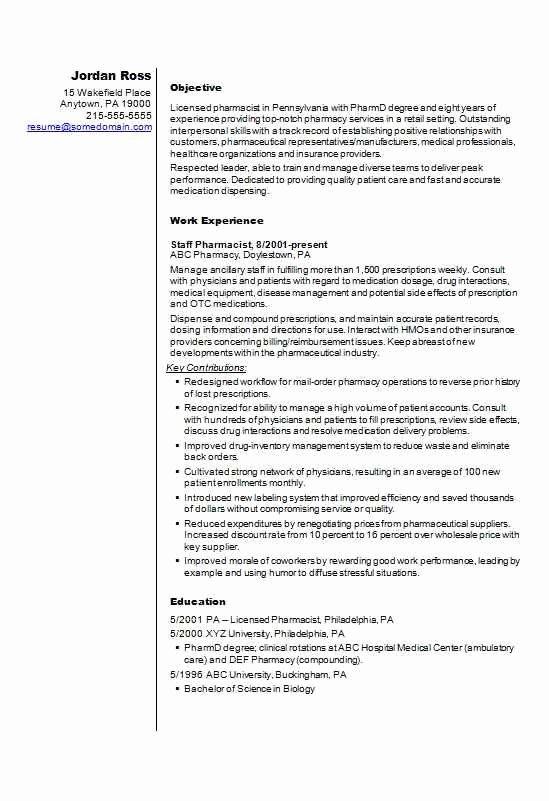 Pharmacist Cv Résumé Template Example Cv Template Master