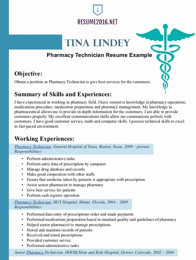 Pharmacist Resume Example 2016