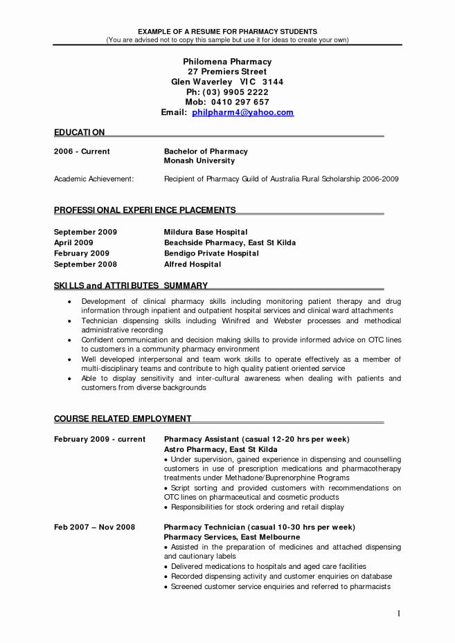 Pharmacist Resume Objective Resume Sample Pharmacist