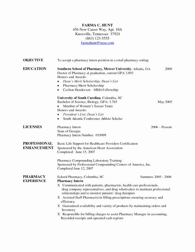 Pharmacist Resume Objective Resume Sample Resume for
