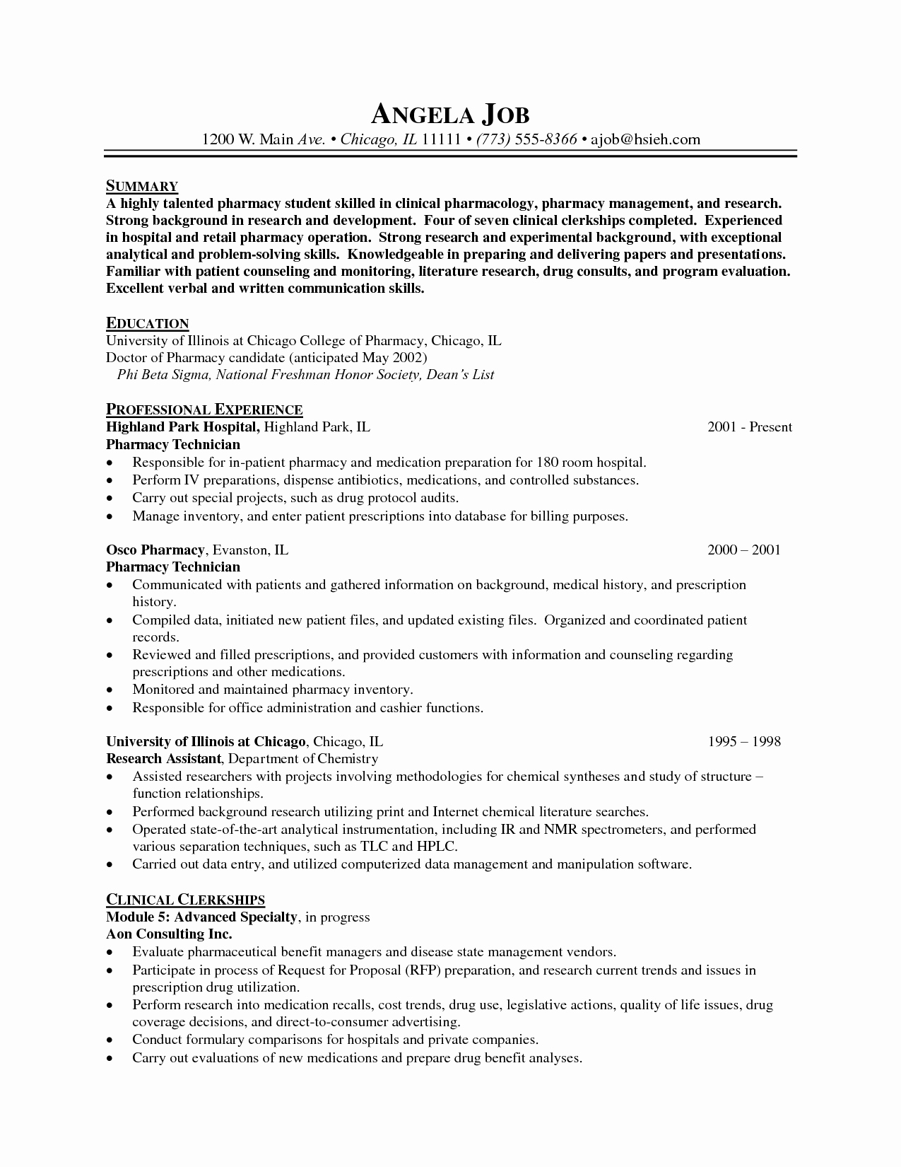 Pharmacist Resume Sample Doc Sidemcicek
