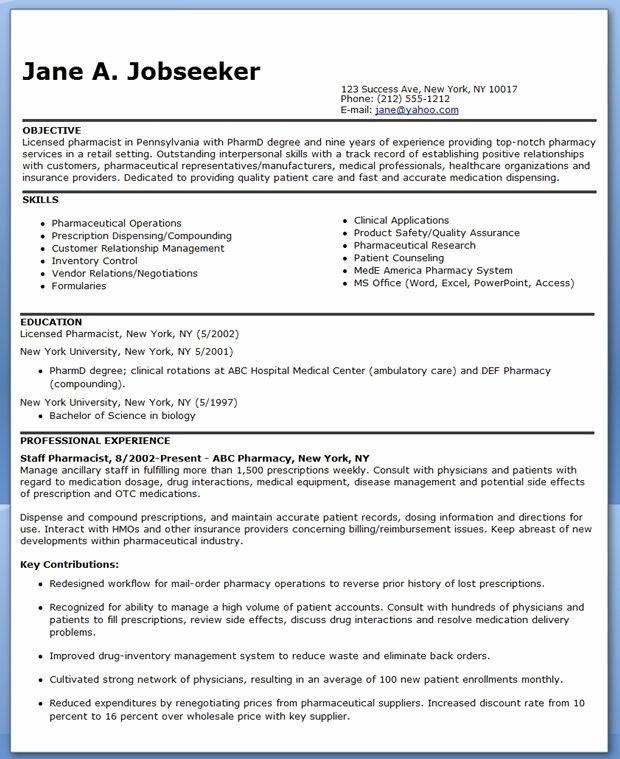 Pharmacist Resume Sample