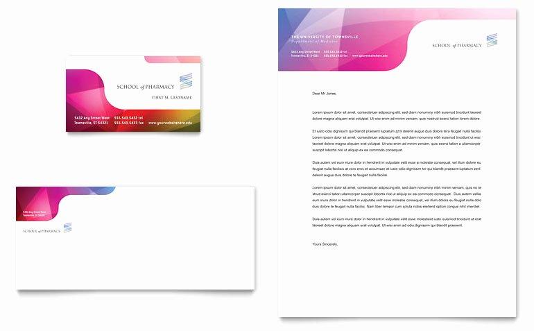Pharmacy School Business Card & Letterhead Template Word
