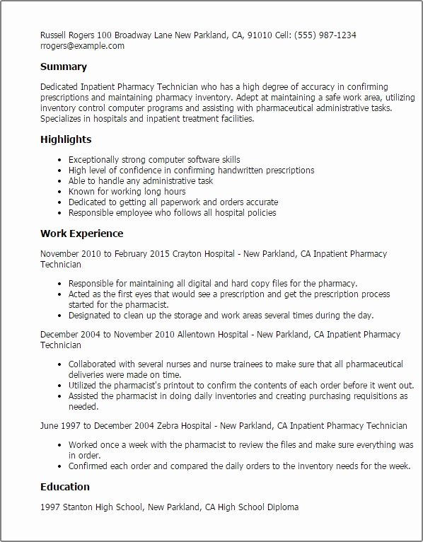 Pharmacy School Resume Best Resume Collection